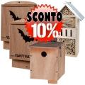 Lotto composto da 2 BatBox Mini, 1 Nido Standard per uccelli e 1 casetta per insetti.domestico.